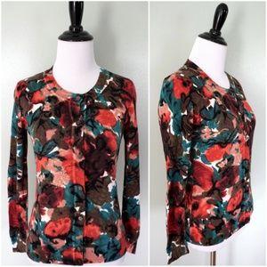 TALBOTS Floral Cardigan Sweater
